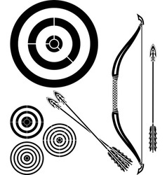 Stencil of bow arrows and targets vector