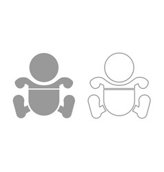 toddler boy with diapers icon grey set vector image vector image