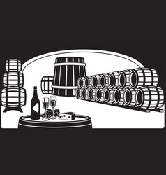 wine cellar with a tasting plate vector image vector image