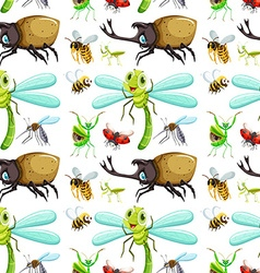 Seamless background with different insects vector