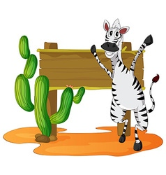 Zebra and wooden sign in desert field vector image