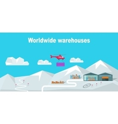 Worldwide warehouse delivering to the north pole vector