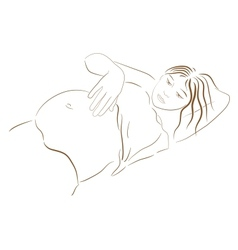 pregnant woman looking at her belly vector image