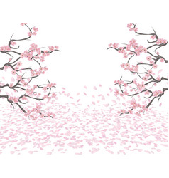 Branches of a blossoming pink cherry on both sides vector