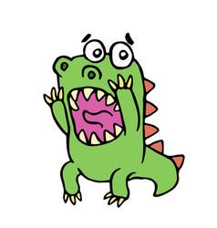 Scared dinosaur vector