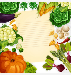 Vegetables havest recipe template vector