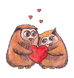 owls in love with heart watercolor vector image