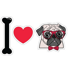 I love pugs witgh hipsters glasses and tie bow vector