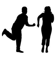 Silhouettes of dancing men and women vector