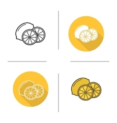 Lemon flat design linear and color icons set vector image