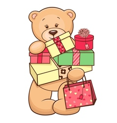 Teddy with presents vector