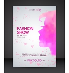 Fashion show flyer with pink watercolor woman vector