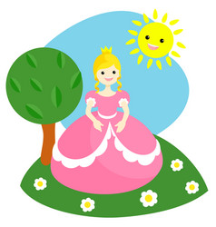 a little princess in a pink dress vector image