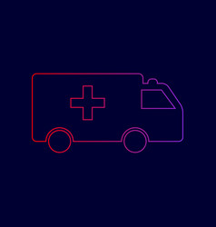 Ambulance sign line icon vector