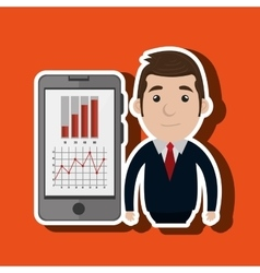Blazer man red tie smartphone isolated icon vector