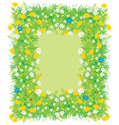Border of flowers and grass vector image