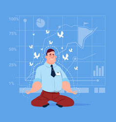 Business man sit yoga lotus pose relaxing vector