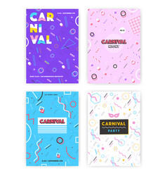 carnival poster set abstract memphis 80s 90s vector image vector image