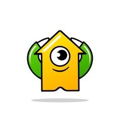 Cyclops character arrow sign vector