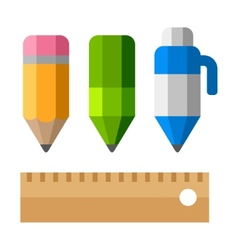 Drafting Tools on White Background School vector image vector image