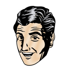 Drawing face man pop art design vector