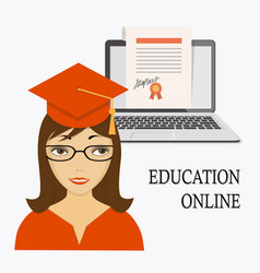 Education online with girl laptop and diploma vector