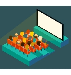 Empty cinema screen with audience Isometric in vector image vector image