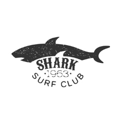 Grey Shark Summer Surf Club Black And White Stamp vector image