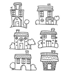 House set with hand draw vector