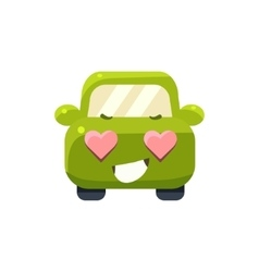 In love green car emoji vector