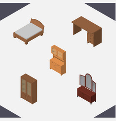 Isometric design set of table bedstead drawer vector