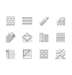 Linoleum service flat line icons set vector