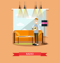radio concept in flat style vector image