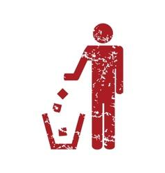 Red grunge throw garbage logo vector