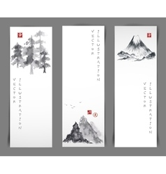 Set of cards with bamboo trees vector image