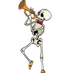 Skeleton plating trumpet music haloween vector