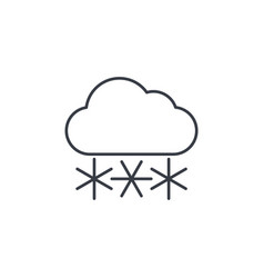 snow snowfall cloud winter weather thin line vector image