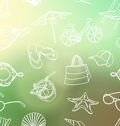 Summer icons seamless line pattern Doodle style vector image vector image