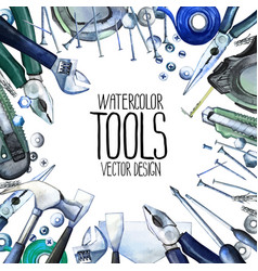 Watercolor repair tools frame vector