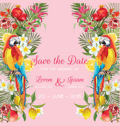 wedding card with tropical flowers fruits parrot vector image vector image