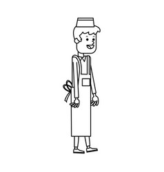 Young man waiter cook or cashier fast food related vector