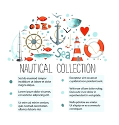Collection of nautical elements in a semicircle vector