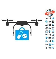 Airdrone pharmacy delivery icon with free bonus vector