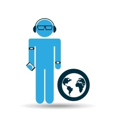 Silhouette man globe technology wearable vector