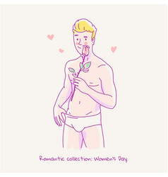young naked man holding a rose in his hand vector image