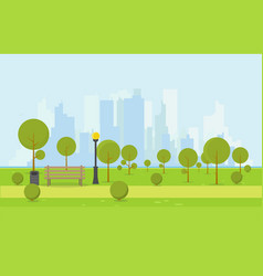 wooden park bench vector image