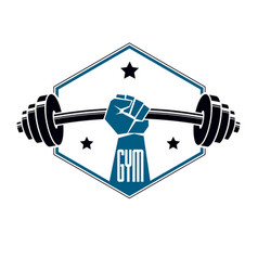 gym weightlifting and fitness sport club logo vector image