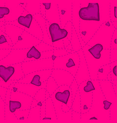 The seamless pattern of the violet heart on vector