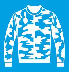 Camouflage jacket icon white vector