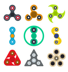 Cartoon spinner toy color icons set vector